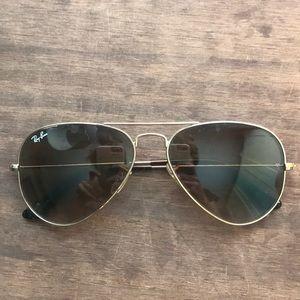 Gold Ray-ban Aviator Sunglasses